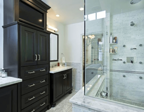 dark stained wooden bathroom cabinets