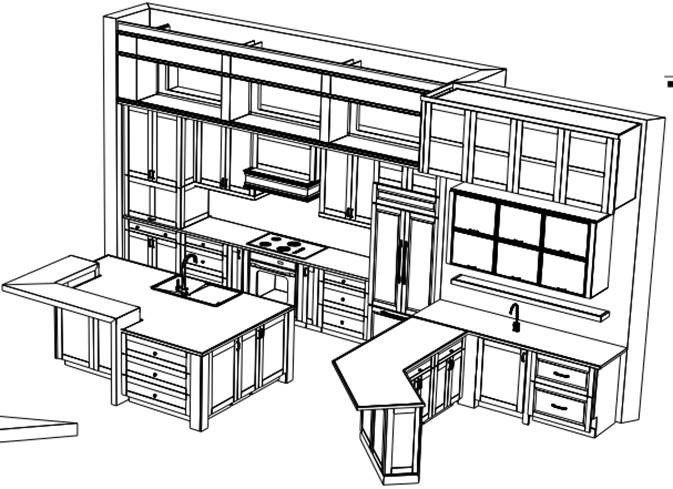 full kitchen redesign - 3D Prospect Drawing