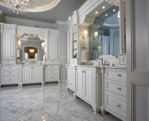 classic all-white bathroom cabinetry